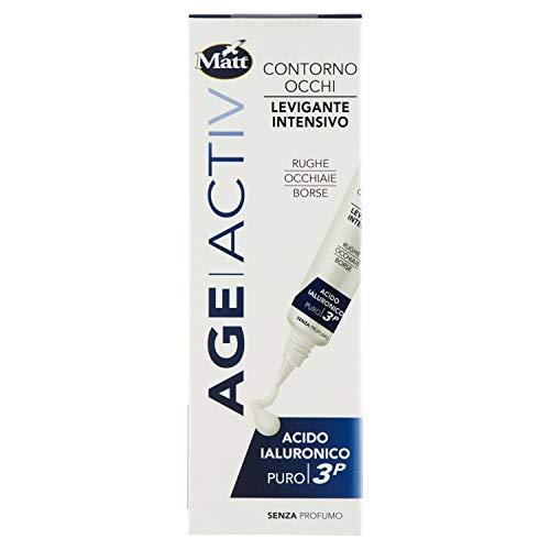 Matt - Age Activ Crema Contorno Occhi Effetto Lifting - Levigante Intensivo per Anti Rughe, Borse e Occhiaie - Acido Ialuronico 3P - Confezione da 15 ml