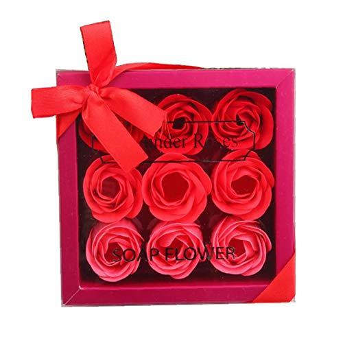 1pack Floreale Profumate Sapone Di Bagno Di Rosa Petali Di Fiori a Forma Di Giorno Sapone Impianto Olio Essenziale Rose Sapone Dolce Set Regalo Per Mamma (red)