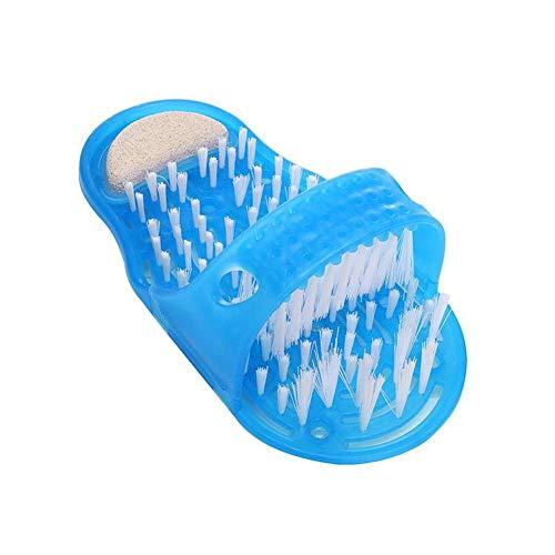 ZYCX123 Bagno Doccia Piedi Scrubber Piedi Exfoliate Cleaner Spazzola a setole Slipper No Bending Massaggiatore Plantare Pantofole Blu