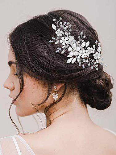 Vakkery - Cerchietto per capelli da sposa, con foglie di fiori e foglie di cristallo, accessorio per capelli da sposa, per donne e ragazze