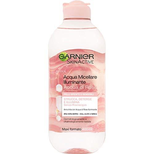 Garnier Acqua Micellare Illuminante Acqua di Rose Micellare, per Pelli Spente e Sensibili, 400 ml, Confezione da 1