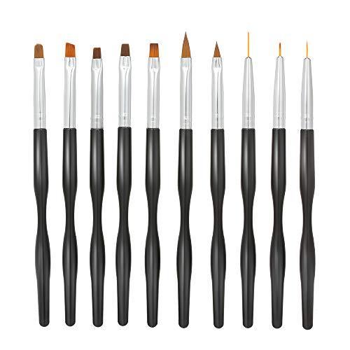 Anself pennelli unghie,10pcs penne professionali per unghie Costruttore di gel UV acrilico Set di pennelli per Nail pittura Disegno del chiodo fai da te