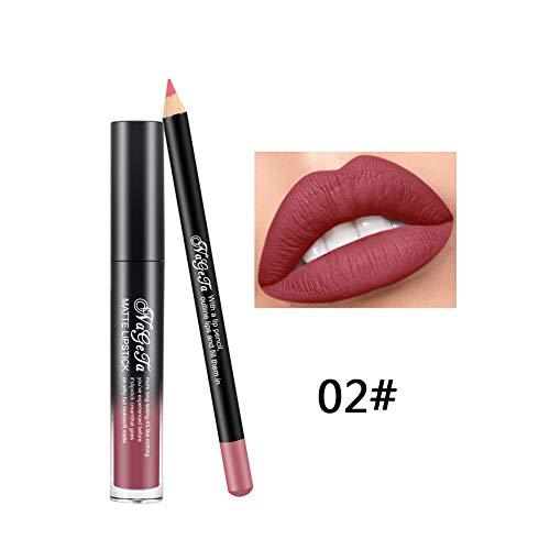 Xiton 2PCS / SET Lucidalabbra E Rossetto Set Long Lasting Lipstick Waterproof Matte Liquid Gloss Lip Liner Matita Lips Cosmetici Kit No Dissolvenza Per Tutto Il Giorno(2)