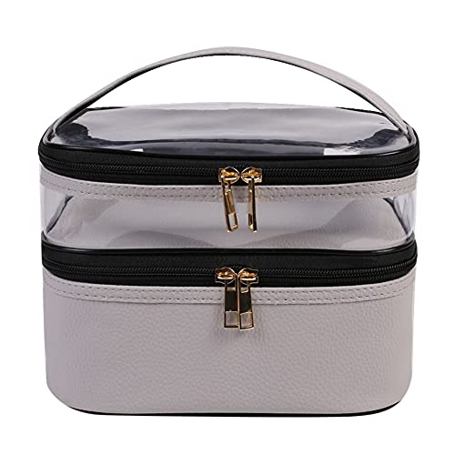 Qiaogeli Double Layer Clear Makeup Bag Transparent Toiletry Train Make up Bags Waterproof Large Cosmetic Organizer Case