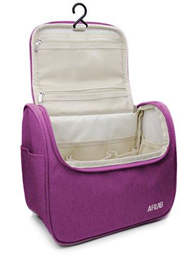 Cosmetic bag borsa da toilette sacchetto cosmetico, con gancio e maniglia, dimensioni: 24 x 19,5 x 12,5 cm, Rosa
