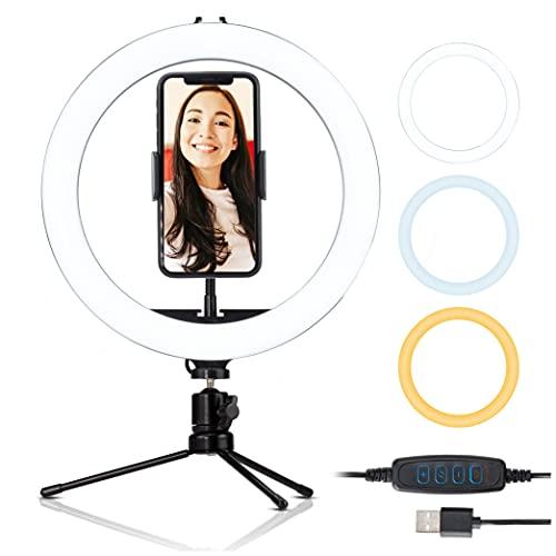 Luce per Selfie Luce Tik Tok Anello LED 10'Supporto Telefono Treppiede Ring Light da Scrivania 3 Modalità di illuminazione e 10 Luminosità Trucco Foto Streaming Videoconferenza Live YouTube Tiktok