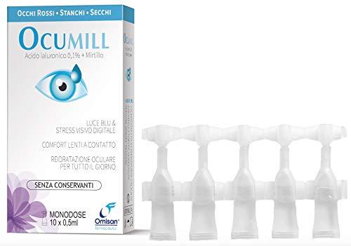 Ocumill Gocce Oculari Monodose (con Acido ialuronico) senza conservanti - Pacco da 2 Pezzi