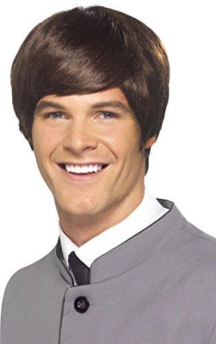 SMIFFYS Parrucca da uomo stile anni '60, castana, corta