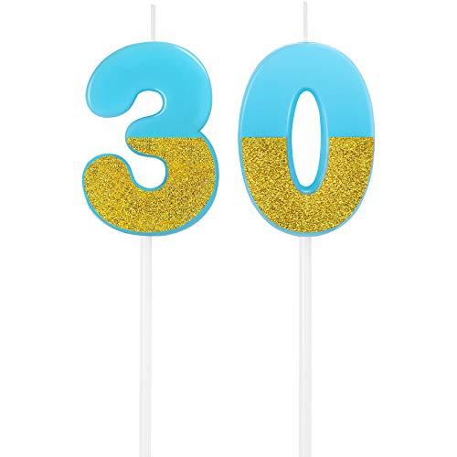 Candele di 30 ° Compleanno Candele con Numeri di Torta Decorazione Topper Candele di Torta Glitter di Buon Compleanno per Matrimonio Festa di Compleanno Celebrazione Anniversario (Blu)