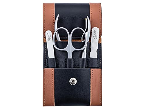 Alpen Set per manicure, 5 pezzi, antiruggine, forbici per cuticole, pinzette, spingi unghie, lima per unghie, custodia nera marrone