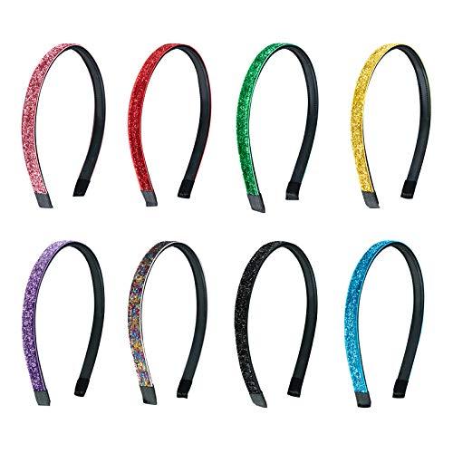 Cerchietti per Capelli Fascia per Capelli in Raso Cerchietti di Glitter per Donna Ragazze 10mm Larghezza Multicolore 8 Pezzi