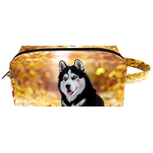 Borse da Toilette,Husky Siberian sdraiato in foglie gialle ,make up borse da viaggio,Beauty Case da Viaggio,Cosmetici Trucco Pochette da Toilette Organizer