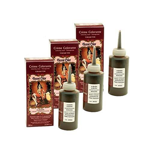 Set di 3 creme colorante Auburn 100% naturale, senza solfati, per capelli, colorazione semi permanente naturale, trattamento Henné Capillare, 3 x 90 ml