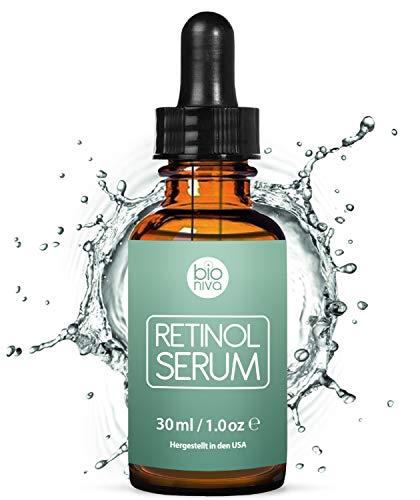 Siero al retinolo vincitore di premi - Sistema di distribuzione con liposomi di retinolo, vitamina C, acido ialuronico vegano - Siero anti-aging Bioniva ad alta efficacia, 30ml