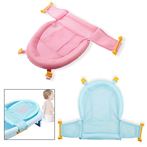 Supporto Sedile Bagnetto,Qiundar 2 Pcs Cuscino Vasca Bambino Neonato Vasca da Bagno Baby Bath Seat,per Bambini da 0 a 3 Anni(Rosa,Blu)
