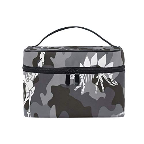 Camouflage Dinosaur Fossil Cosmetic Bag Toiletry Travel Makeup Case Handle Pouch Organizer multifunzione per le donne