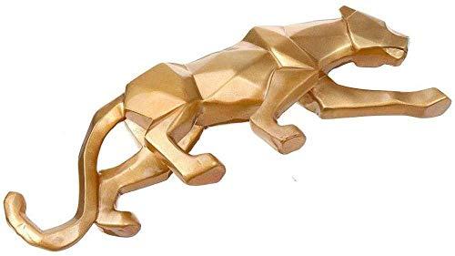 HYBUKDP sculture Ornamenti Statue Sculture Oro Panther Resina Scultura 26 × 5 × 8Cm Origami Geometrica Leopard Statua Crafts Wildlife Artwork for Soggiorno Tavolo Tatuaggi Statue