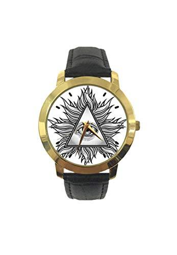Orologio da polso al quarzo da uomo, a forma di triangolo con figure ondulate e occhi in stile tatuaggio antico, massonico, alla moda, con cinturino in pelle