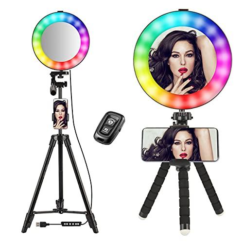 Selfie Ring Light 8'con 50' supporto per treppiede Circle Led Kit di illuminazione Supporto per telefono etelecomando RGB Rainbow 14 colori per streaming video dal vivo,YouTube,trucco,Tiktok,vlogging