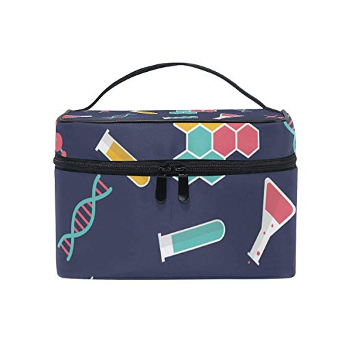 Borse per cosmetici Makeup Cosmetic Bag Experiment Container Dark Blue Portable Travel Train Case Toiletry Bags Organizer Multifunction Storage Travel Daily Carry