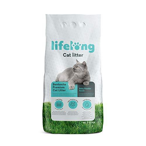 Marchio Amazon Lifelong Lettiera per gatti, bentonite premium al profumo di borotalco 10L