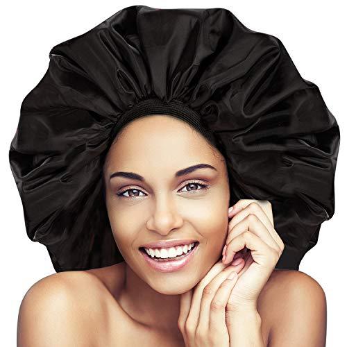 Noverlife - Cuffia da doccia super jumbo, a prova di spruzzi, per la notte e il giorno, per il trattamento dei capelli da donna, protegge i capelli dal crespo, turbante, morbida e confortevole