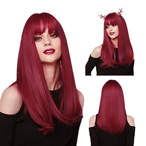 MISHAIR Donna Parrucca Lunghi con Frangia Wigs Parrucca Rosso Morbida Parrucche di Lunghezza Anime Cosplay Ragazze 20 pollici (rosso)