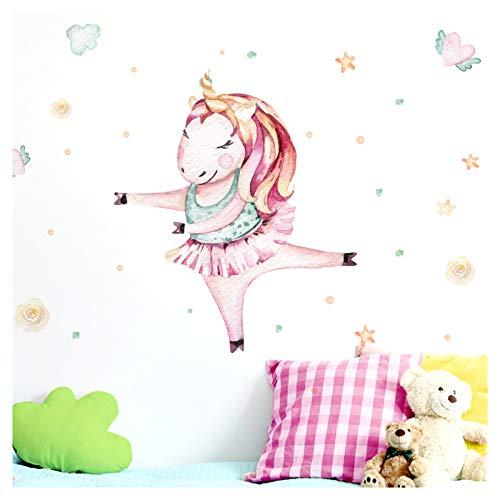 Little Deco Tatuaggio murale Camera per Bambini Ragazza Camera Unicorno Ballerina & Cuore Stelle I (LxA) 43 x 50 cm I Baby Room Stickers Adesivi murali Bambini DL139