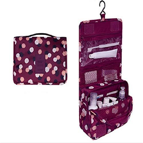 Drawihi Beauty Case da Viaggio Borsa da Toilette Borsa da Viaggio Bag Organizer Ripiegabile Cosmetico Bag Trousse da appendere per cosmetic Fiori rossi di vino