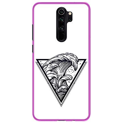 BJJ SHOP Custodia Rosa per [ Xiaomi Redmi Note 8 PRO ], Cover in Silicone Flessibile TPU, Design: Triangolo del Tatuaggio con Le Onde