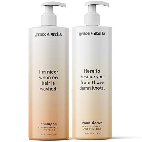 Shampoo e balsamo con olio di argan grandi 2 x 500ml   Capelli danneggiati, cuoio capelluto prurito, crescita dei capelli, Cura Capillare, Capelli Conditioner, Balsamo per capelli secchi crespi