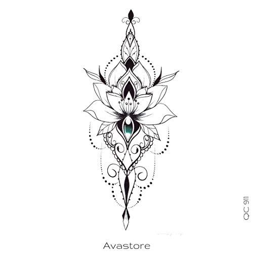 AVASTORE - Tatuaggio temporaneo da donna, fiore di loto, magra orientale, colore: Nero