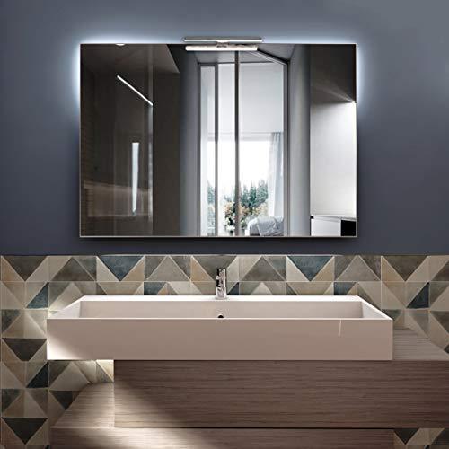 styleglass Specchio Bagno Rettangolare Reversibile Perla 100x70cm, Specchio Parete con Lampada a LED 6000Kelvin, Telaio in PVC, Kit Fissaggio Murale Incluso, Grado di Protezione IP44