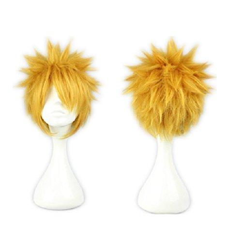 COSPLAZA Uzumaki Parrucca Parrucca per costume cosplay per adolescenti parrucca corta bionda gialla soffice