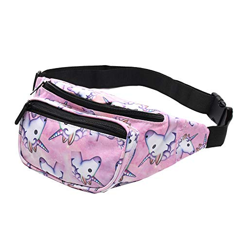 Giddah Unicorno & Flamingo moda hip Bum tasche con cerniera piatta Viaggi Sport Marsupio, unicorno