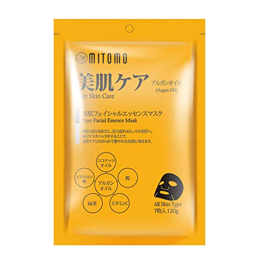 MITOMO Foglio maschera viso giapponese con olio di argan - 7 pezzi