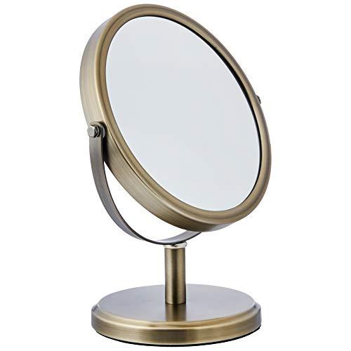 Amazon Basics - Specchio cosmetico bifacciale moderno, Peltro