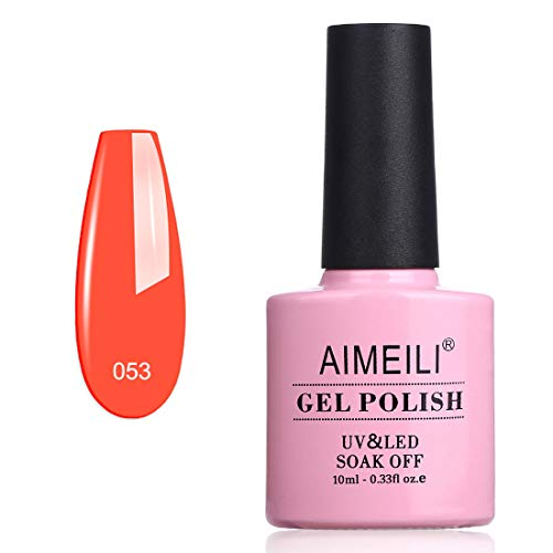 AIMEILI Smalto Semipermente per Unghie in Gel UV LED Smalti Colorati Gel per Manicure Gel Polish Glitter Fluo Soak Off - Neon Orange Zest (053) 10ml