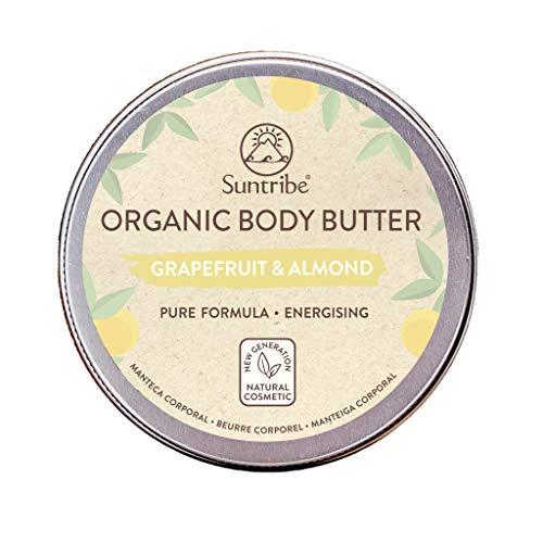 Burro Per il Corpo Biologico Pompelmo & Mandorle Suntribe - 100% Biologico- 3 Ingredienti - Con odore de Pompelmo (Profumo naturale) - Idratante & Energizzante - Pelle Mista/Secca/Normale (150 ml)