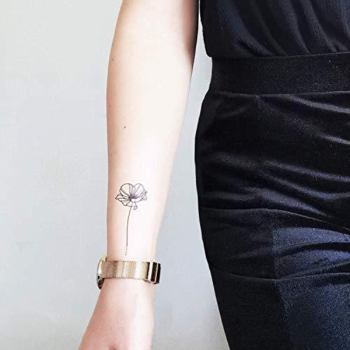 Papavero a linea sottile - Tatuaggio temporaneo floreale (set di 2)