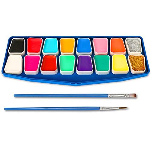 HENMI Face Paint Set, 14 colori, 2 glitter, 60 stencil per tatuaggi, 2 pennelli, kit per la pittura del corpo Sicurezza non tossica per trucco per bambini, Cosplay-Pasqua/Natale/Helloween/Feste