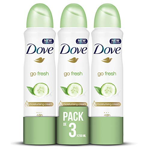 Dove deodorante Spray 250 ml– [confezione da 3] Go Fresh con cetriolo e te verde