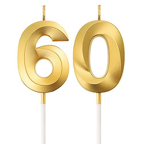 Numero Candele di Compleanno 60 ° Numero Candele Decorazione di Topper di Torta di Buon Compleanno per Festa di Compleanno Nozze Anniversario Celebrazione Forniture(Oro)