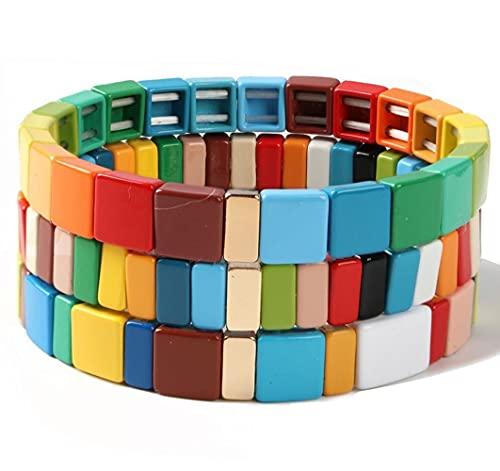 Braccialetti con braccialetti elasticizzati con smalto a 3 pezzi Set di braccialetti con perline di Tila arcobaleno con filo di Boemia per bracciale da donna da donna