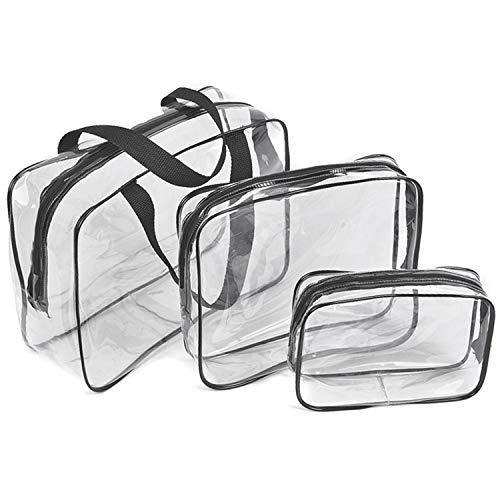 Borse da Viaggio Impermeabili Trasparenti, 3 Pcs Sacche Trasparenti da Aereo Borse per Cosmetici con Zip Beauty Case da Borsa da Viaggio