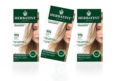 Herbatint Gel Colorante Permanente Pelle Sensibile (Tonalità 9N Biondo Miele) - 3x150 ml. (Totale 450 ml.)