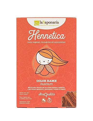 LA SAPONARIA - Hennetica Tinta Vegetale Color Rame - Parvati -Mix di erbe tintorie per un colore intenso e naturale - Effetto volumizzante - Vegano - Equosolidale - 100 gr
