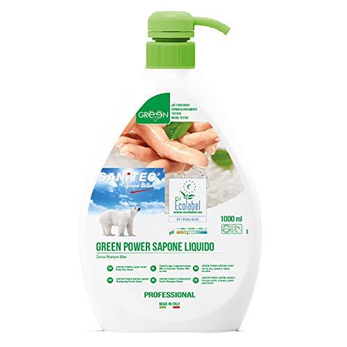 Sanitec Green Power Sapone Liquido, Ecologico, Corpo e Capelli, Delicato Profumo Floreale, 1000 ml