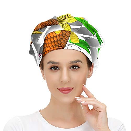 Cappello da donna per capelli lunghi con fascia elastica regolabile da lavoro per uomo Lavoro testa sciarpa 3D stampato cappelli carpa acqua giglio stagno tatuaggio