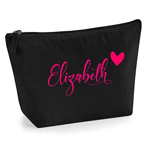 Beauty case da donna personalizzabile con nome, iniziali e cuori, per pochette, custodia dei trucchi, con glitter o fiocco, stampa su materiale